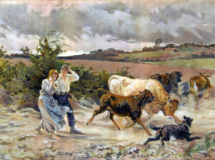 Couple With Cattle in Storm - AFTER