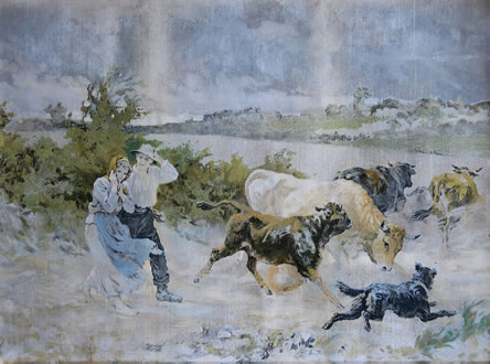 Couple With Cattle in Storm - BEFORE